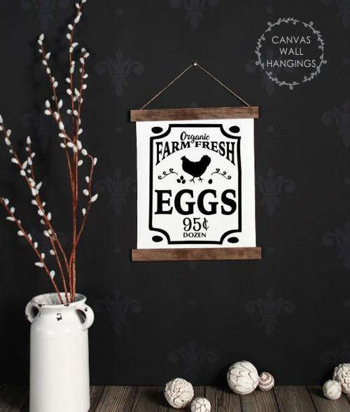 12x14.5 - Wood & Canvas Wall Hanging, Farm Fresh Eggs Farmhouse Chicken Wall Art