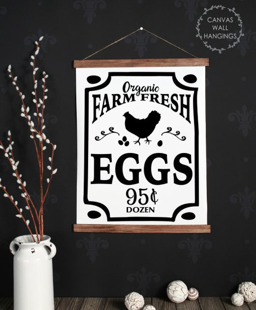 19x24 - Wood & Canvas Wall Hanging, Farm Fresh Eggs Farmhouse Chicken Wall Art