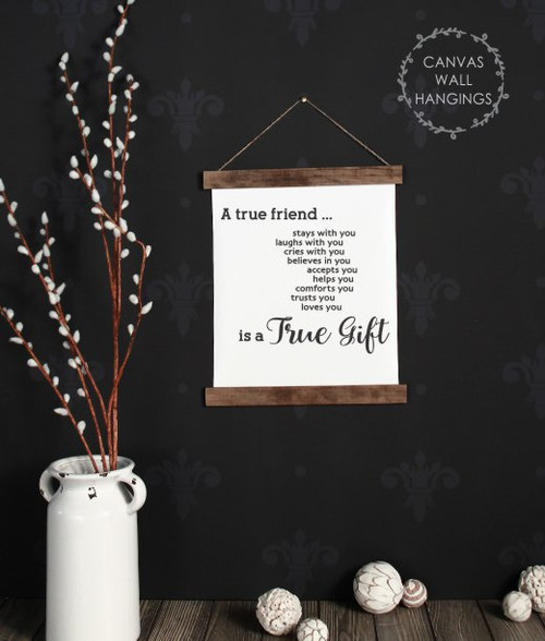 12x14.5 - Wood & Canvas Wall Hanging, A True Friend Quote Wall Decor Art