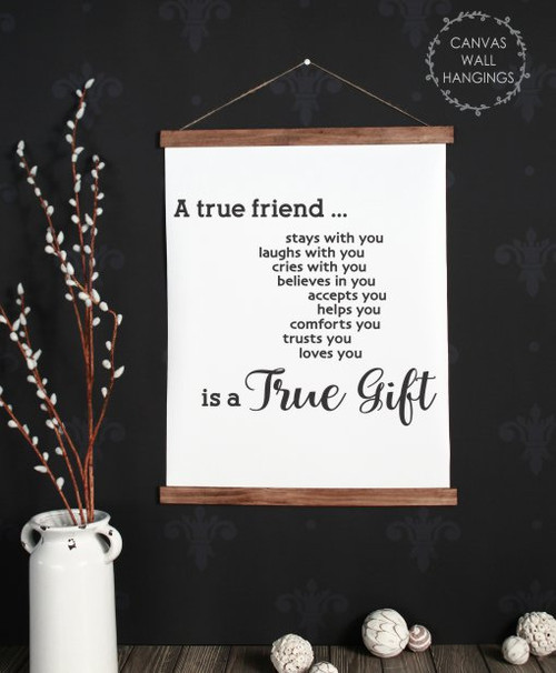 19x24 - Wood & Canvas Wall Hanging, A True Friend Quote Wall Decor Art