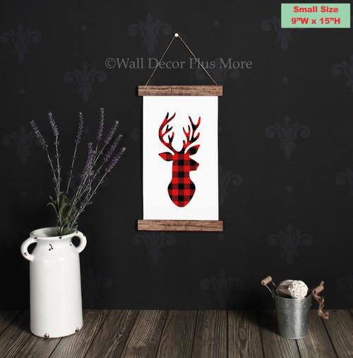 9x15 - Wood & Canvas Wall Hanging, Buffalo Red Plaid Check Deer Holiday Wall Art