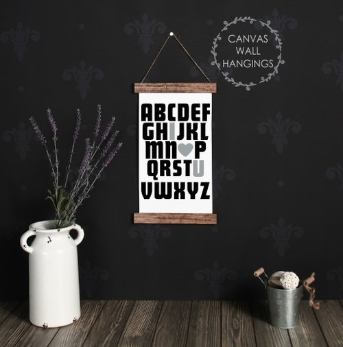 9x15 - Wood & Canvas Wall Hanging, ABC I Love You Baby Nursery Wall Art