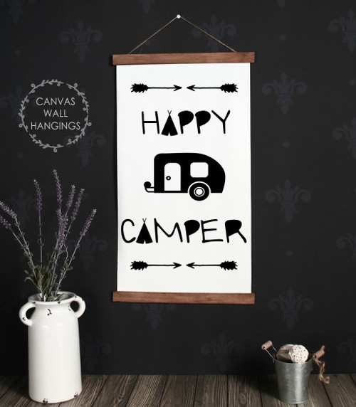 15x26 - Wood & Canvas Wall Hanging, Retro Happy Camper Wall Art