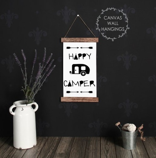 9x15 - Wood & Canvas Wall Hanging, Retro Happy Camper Wall Art