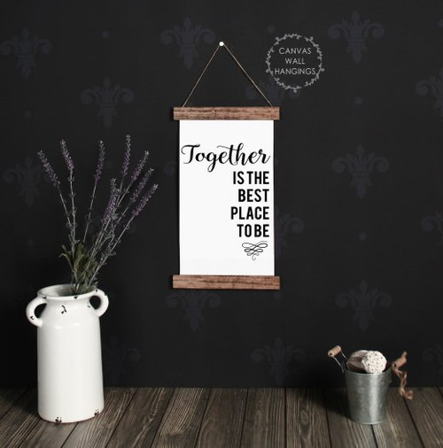 9x15 - Wood & Canvas Wall Hanging - Together Best Place - Living Room Wall Art