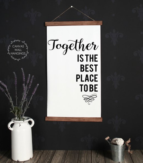 15x26 - Wood & Canvas Wall Hanging - Together Best Place - Living Room Wall Art