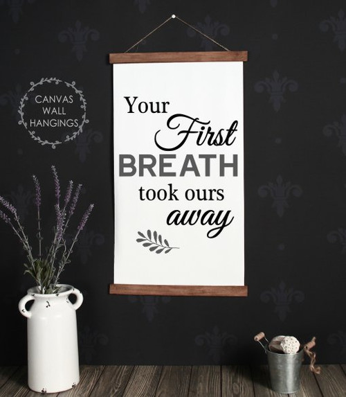 15x26 - Wood & Canvas Wall Hanging - Your First Breath - Baby Nursery Wall Art