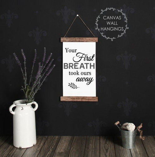 9x15 - Wood & Canvas Wall Hanging - Your First Breath - Baby Nursery Wall Art
