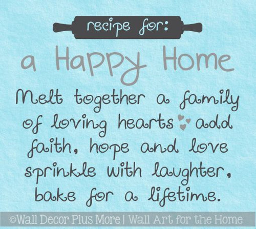 Wall Decals For Kitchen Recipe For Happy Home Vinyl Lettering Stickers
