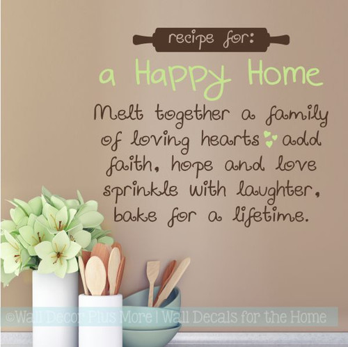 Wall Decals For Kitchen Recipe For Happy Home Vinyl Lettering Stickers-Key Lime, Chocolate Brown