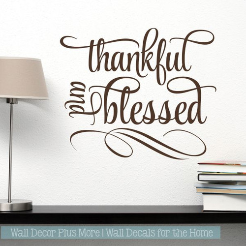 Kitchen Quotes Wall Art Thankful And Blessed Home Decor Wall Stickers-Chocolate Brown
