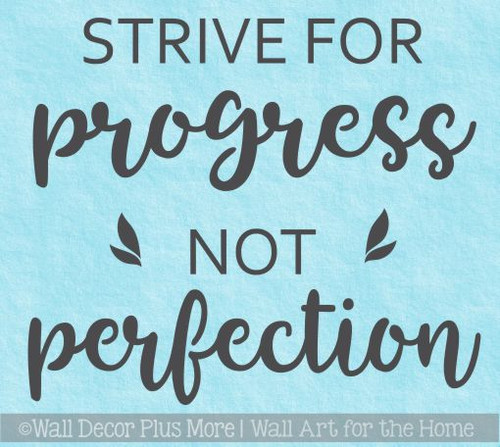 Inspirational Wall Quotes Decal Progress Not Perfection School Stickers
