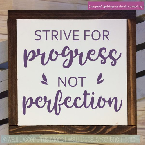 Inspirational Wall Quotes Decal Progress Not Perfection School Stickers-Plum