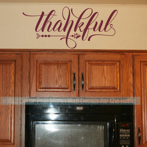 Farmhouse Wall Art Stickers Thankful Vinyl Kitchen Wall Décor Decals-Burgundy