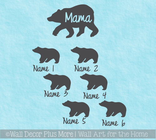 Mama Bear with Cubs Tumbler Personalized Mug Vinyl Decals for Cups