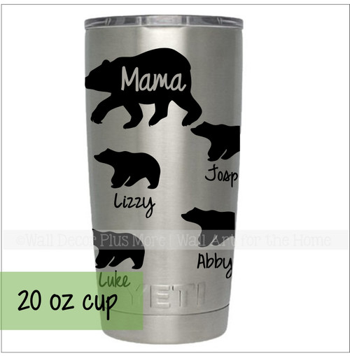 Mama Bear with Cubs Tumbler Personalized Mug Vinyl Decals for Cups-Glossy Black