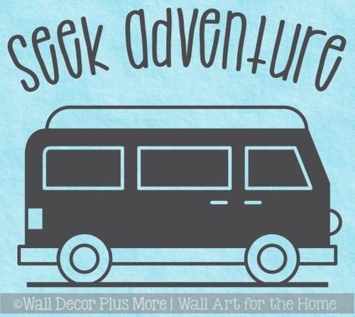 Camping Decals Seek Adventure Retro Camper RV Wall Decor Art Stickers