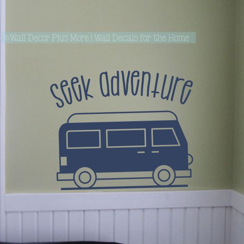 Camping Decals Seek Adventure Retro Camper RV Wall Decor Art Stickers-Deep Blue