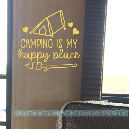 RV Wall Decor Camping Happy Place Tent Stick Art Stickers Camper Decals-Buttercream