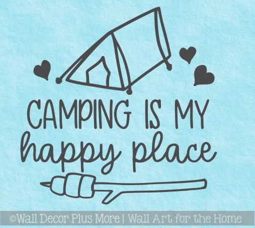 RV Wall Decor Camping Happy Place Tent Stick Art Stickers Camper Decals