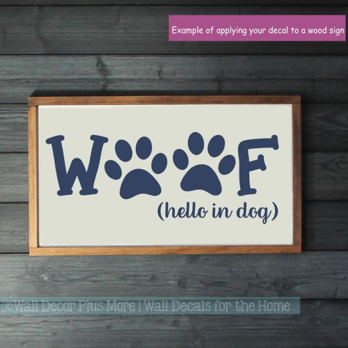 Pet Lover Stickers Woof Hello In Dog Vinyl Art Decals for Home Decor-Deep Blue