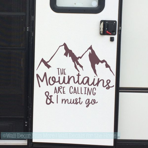 Motor home Decals Mountains Are Calling Camper Art Lettering RV Stickers-Eggplant