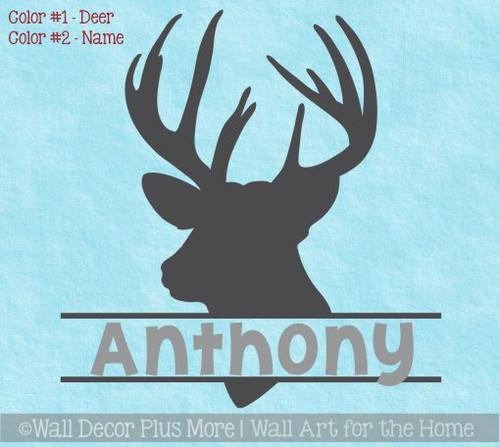 Boy Bedroom Wall Decals Deer Antlers Hunting Stickers Custom Name Art