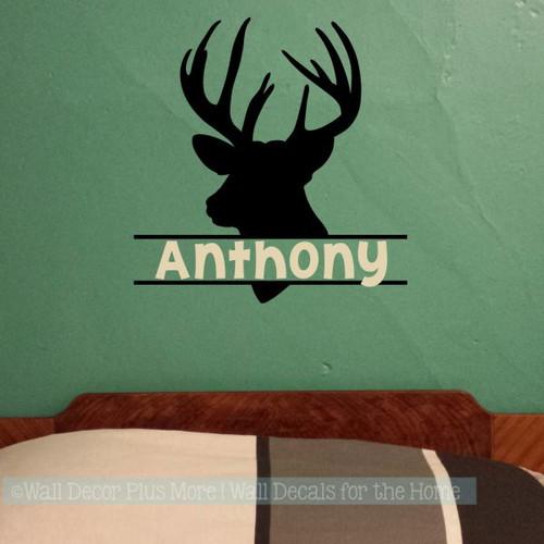 Boy Bedroom Wall Decals Deer Antlers Hunting Stickers Custom Name Art-Black, Beige