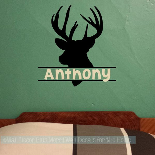 Boy Bedroom Wall Decals Deer Antlers Hunting Stickers Custom Name Art-Black, Beige