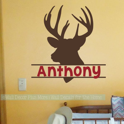 Boy Bedroom Wall Decals Deer Antlers Hunting Stickers Custom Name Art