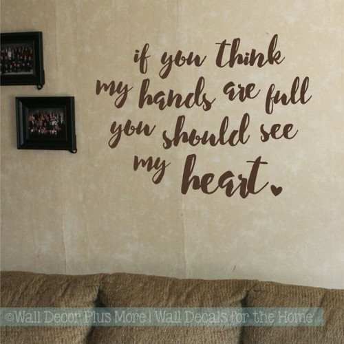 Kitchen Wall Decals Full Hands Full Heart Family Wall Decor Stickers-Chocolate Brown