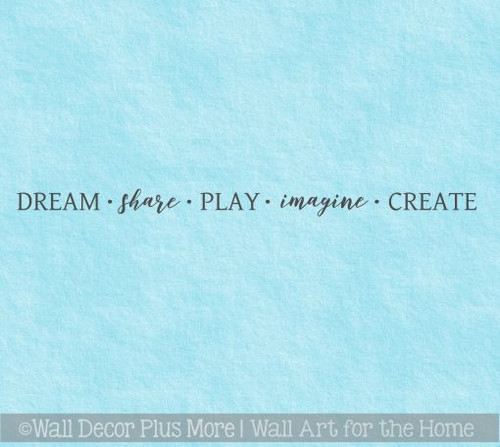 Inspirational Wall Decals For School Dream Share Play Imagine Create