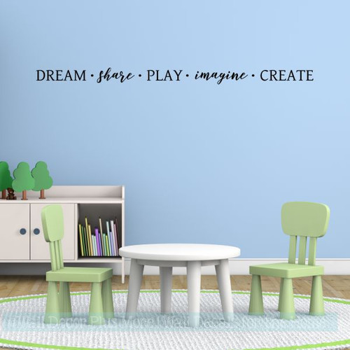 Inspirational Wall Decals For School Dream Share Play Imagine Create-Black