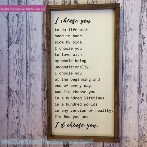 Bedroom Wall Decals Quote I'd Choose You Verse Vinyl Love Décor Stickers-Black