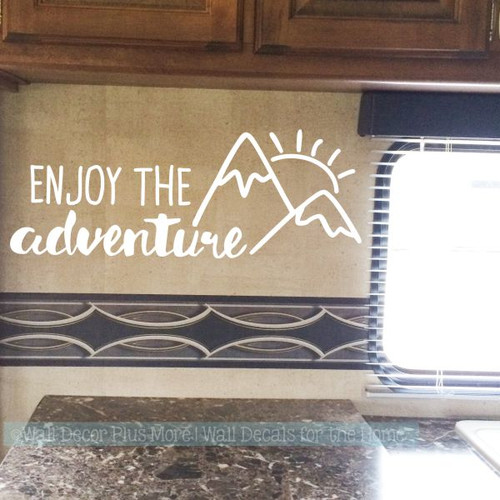 Motorhome Decals Enjoy The Adventure Sunrise Camper Vinyl Art Stickers-White