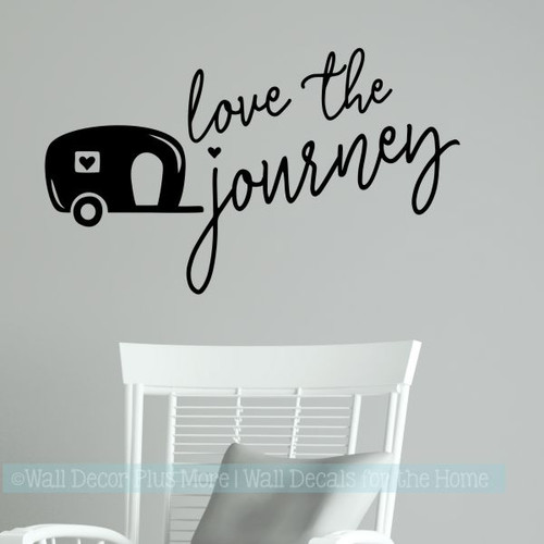 Camper Decals Love The Journey Vintage RV Vinyl Art Stickers Wall Décor-Black