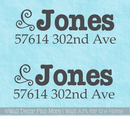 Mailbox Name Stickers Number Address Swirl Custom Vinyl Decal