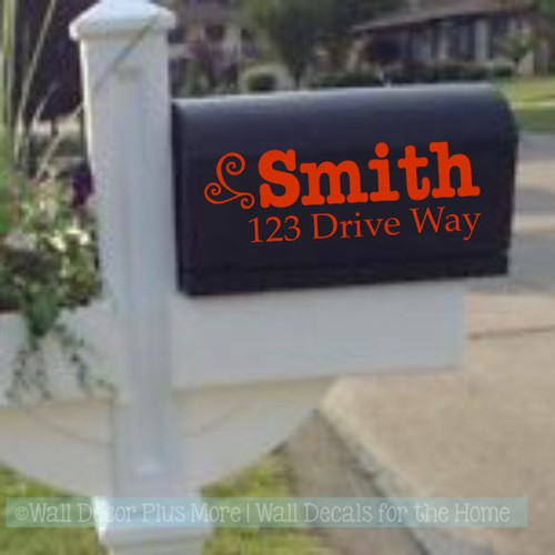 Mailbox Name Stickers Personalized Address Swirl Custom Vinyl Decal-Glossy Red