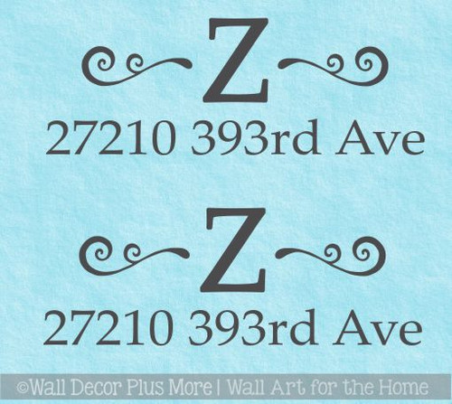 Custom Mailbox Decals Personalized Monogram Swirl Address Stickers