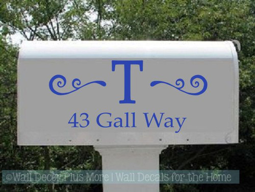 Custom Mailbox Decals Personalized Monogram Swirl Address Stickers-Glossy Brilliant Blue