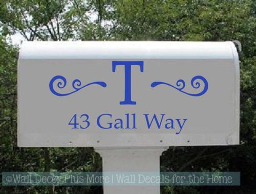 Custom Mailbox Decals Personalized Monogram Swirl Address Stickers-Glossy Brilliant Blue