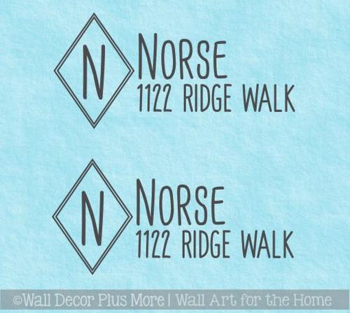 Mailbox Vinyl Stickers Personalized Monogram Name Modern Diamond