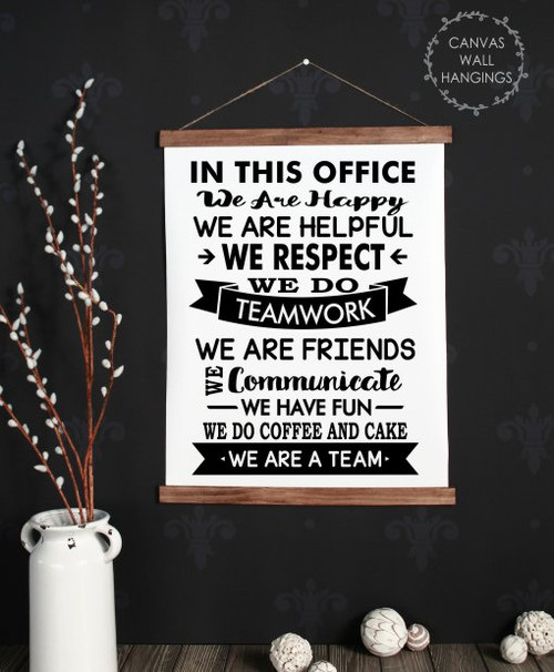 Large: 19x24 - Wood & Canvas Wall Hanging In This Office.. We Are A Team Wall Art Sign