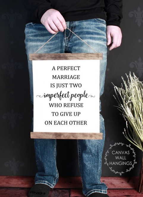 Small: 12x14.5 - Wood & Canvas Wall Hanging, A Perfect Marriage Is Imperfect People, Wall Art Sign