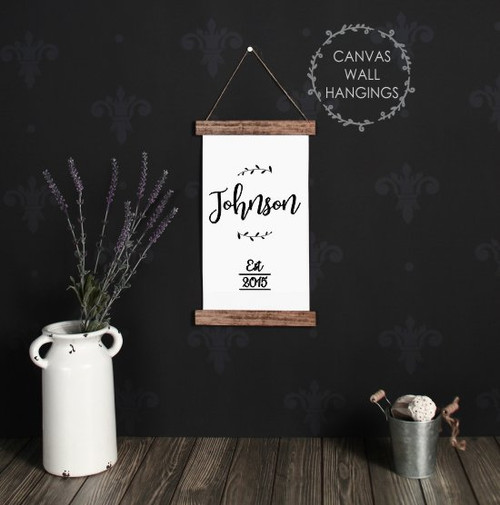 Small: 9x15 - Wood & Canvas Wall Hanging, Farmhouse Last Name Date Wall Art Sign