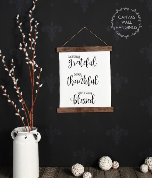 Small: 12x14.5 - Wood & Canvas Wall Hanging Grateful Thankful Blessed Wall Art Sign