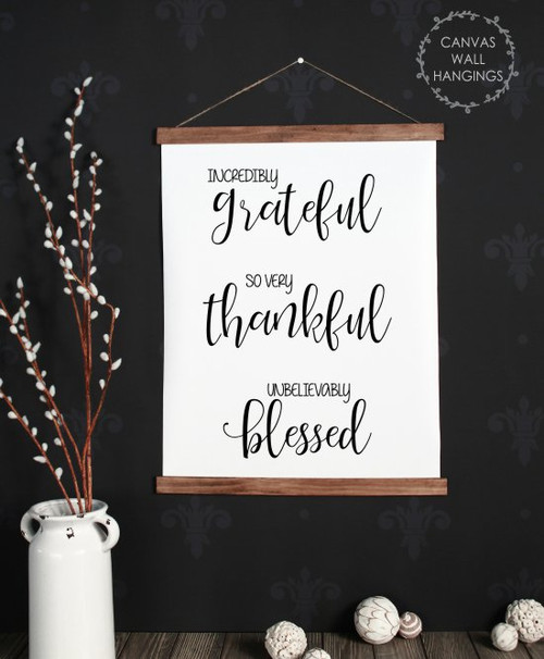 Large: 19x24 - Wood & Canvas Wall Hanging Grateful Thankful Blessed Wall Art Sign