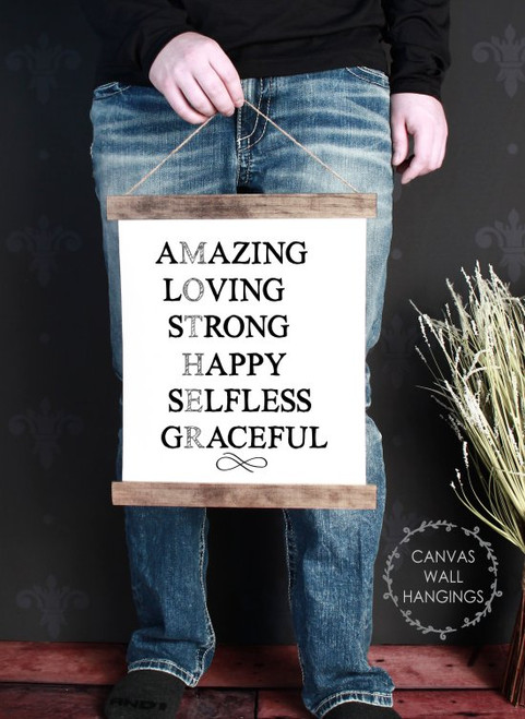 Small: 12x14.5 - Wood & Canvas Wall Hanging Mother Amazing Loving Graceful Wall Art