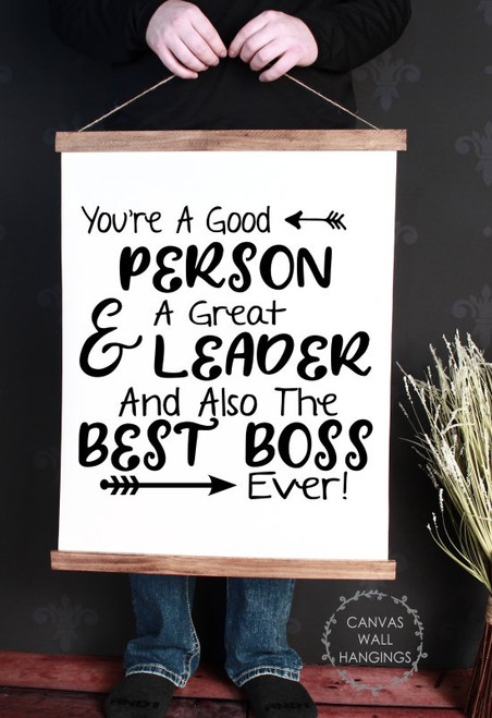 Large: 19x24 - Wood & Canvas Wall Hanging Best Boss Ever Office Gift Wall Art Sign