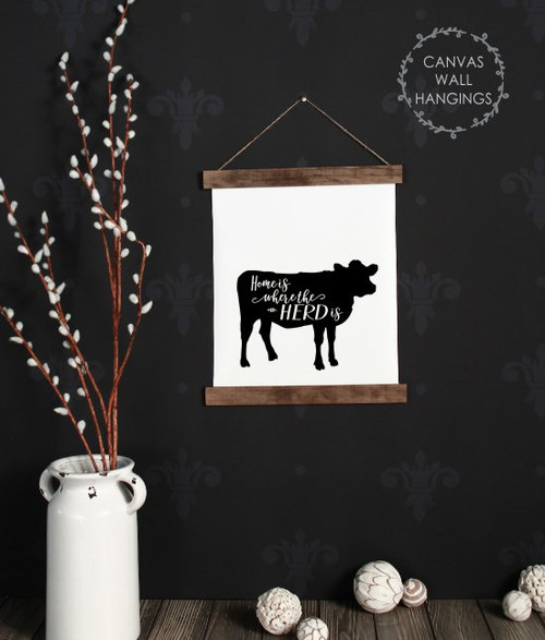 Small: 12x14.5 - Wood & Canvas Wall Hanging, Home Where Herd Is Cow Farm Wall Art